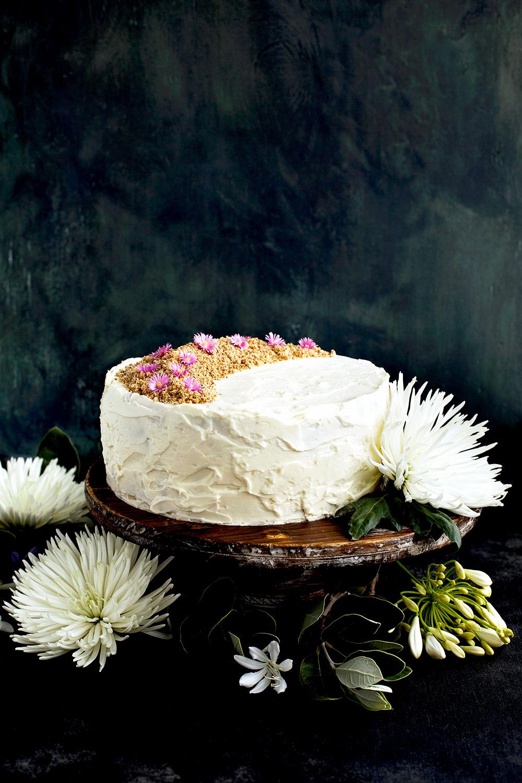Marzipan Almond Cake with a Orange Blossom Mascarpone Frosting