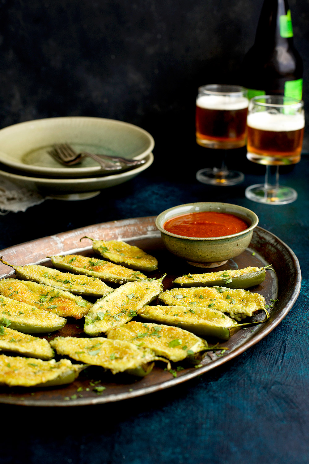 Roasted Poblano Manchego Jalapeno Poppers with Ranchero ...