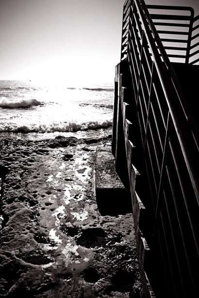 Sunset cliffs stairs black and white