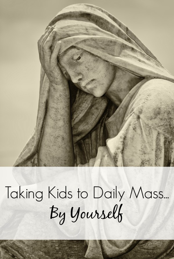 Think daily Mass with young kids is too hard? Well, you're right. It is. But God blesses our efforts. So, take a look at why I made the choice to start bringing my little kids to church during the week. | catholic | christian | how does she