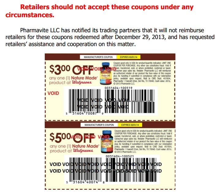 Nature Made Coupon Recall