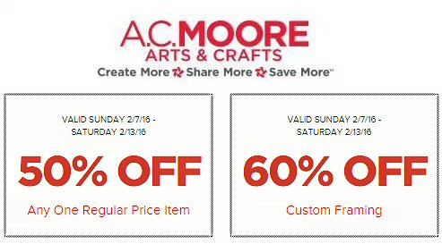 AC Moore coupon Feb 7 through 13 calvary couponers