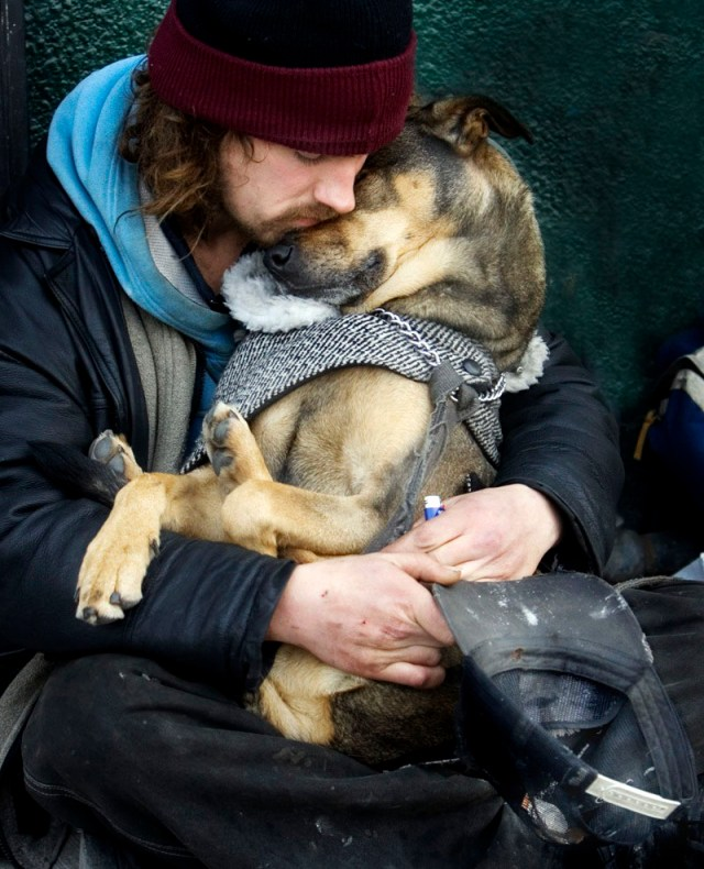homeless man with his dog, picture speaks a thousand words, homeless man with dog