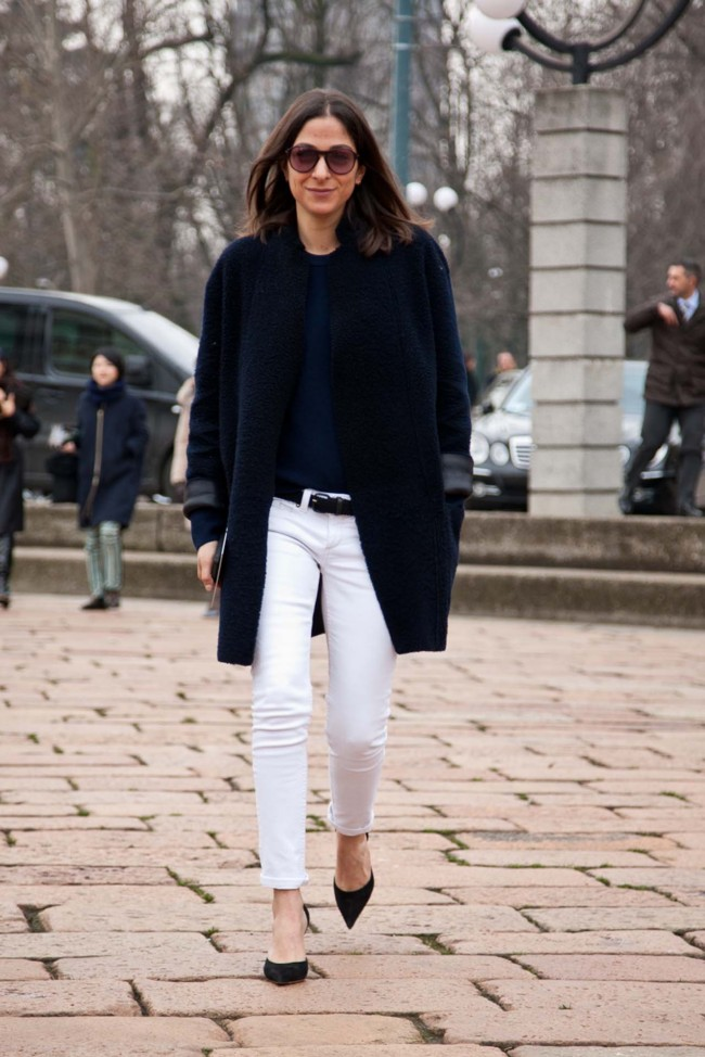 Spotted by Vogue in Milan: a simple pair of skinny pants, basic sweater and coat
