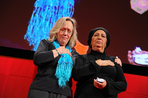 Phyllis Rodriguez and Aicha El-Wafi speak during Session 5: Harmony and Discord, Wednesday, Dec. 8, 2010, at TEDWomen, Washington, DC. Photo: James Duncan Davidson / TED