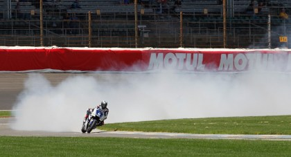 Ben Spies' Yamaha spectacularly blows up at Laguna Seca last year. Spies has had a streak of bad luck that's run for years. Photo: MotoGP