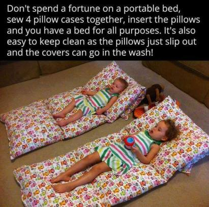 homemade portable pillowcase beds