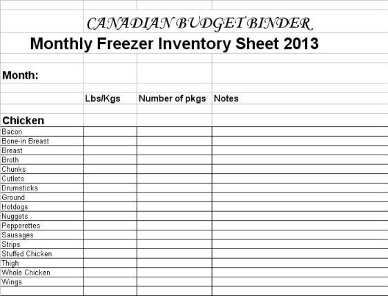 Freezer Inventory List 2013 preview photo