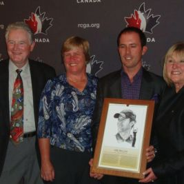 Mike Weir (centre right) at his HOF induction in happier times, with Gary Cowan (left), Marianne Lapointe (centre left) and Sandra Post (right)