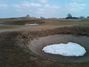 The 14th hole at Tarandowah Golfers Club on April 9. Don't let the snow fool you -- it was still in fine shape.