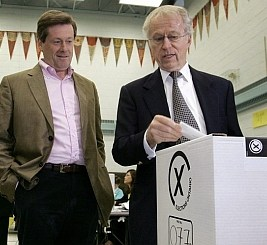 John A. Tory, right, with his son, John Tory. The businessman died from a stroke on the weekend.