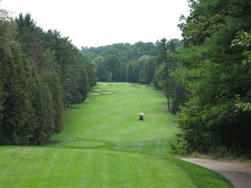 The par five 16th at the Club at North Halton -- certainly the most dramatic tee shot on the course.