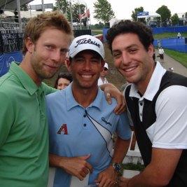 Quagmire's Geoff Tait (left), PGA Tour pro Chez Reavie, and Quagmire partner Bobby Pasternak in happier times.