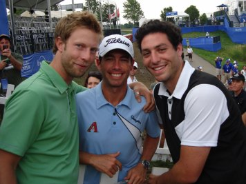 Quagmire's Geoff Tait (left), PGA Tour pro Chez Reavie, and Quagmire partner Bobby Pasternak in happier times.