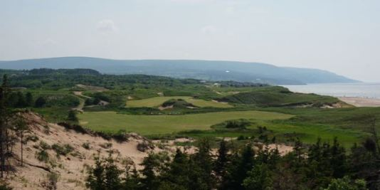 The incredible second hole at Cabot Cliffs with its wild green.