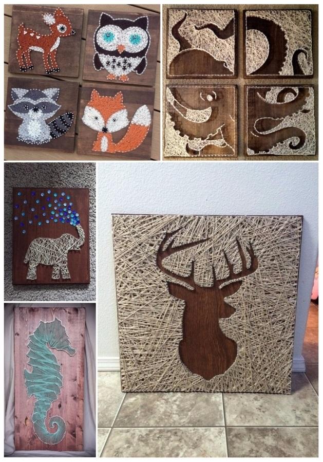 Ideas para decorar cuadros con clavos e hilos tensados - Ideas para hacer cuadros con telas ...
