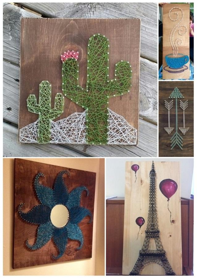 Ideas para decorar cuadros con clavos e hilos tensados - Cuadros abstractos para ninos ...