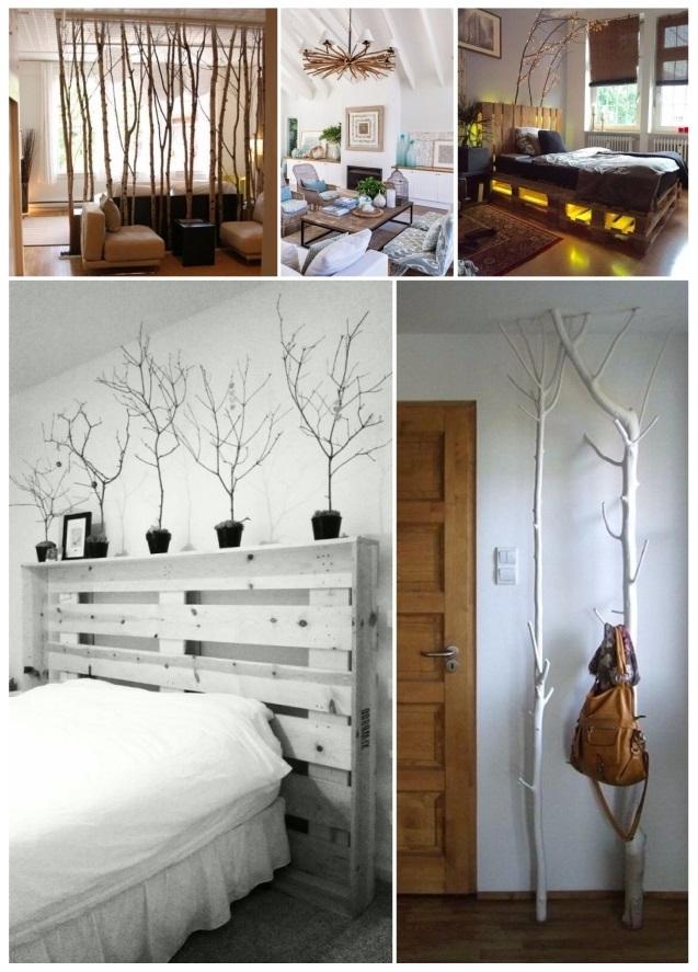 decorar con ramas secas de árbol