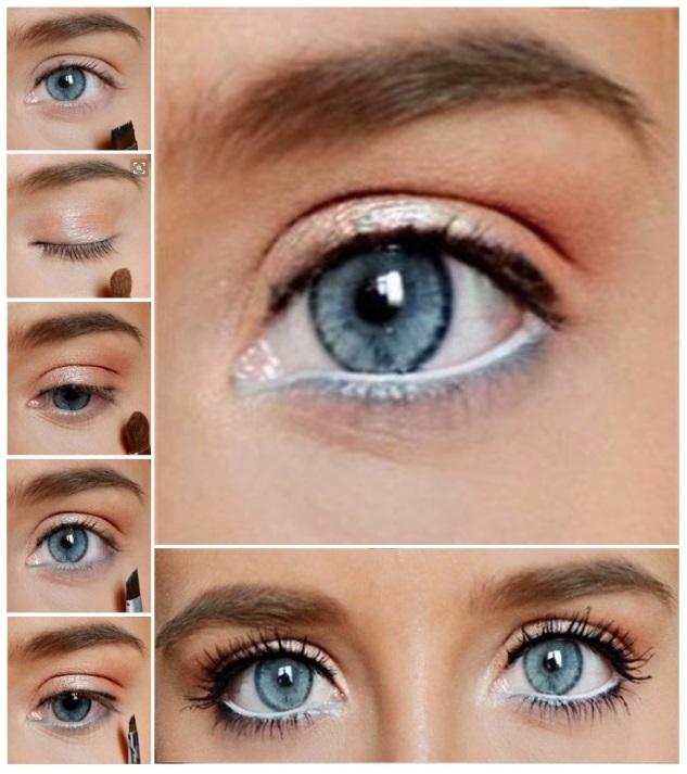 como maquillar ojos azules para el día