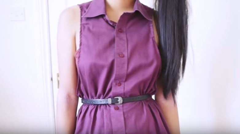 como hacer un vestido con una camisa vieja