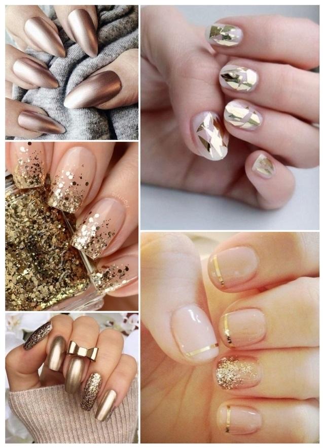 como pintar uñas doradas