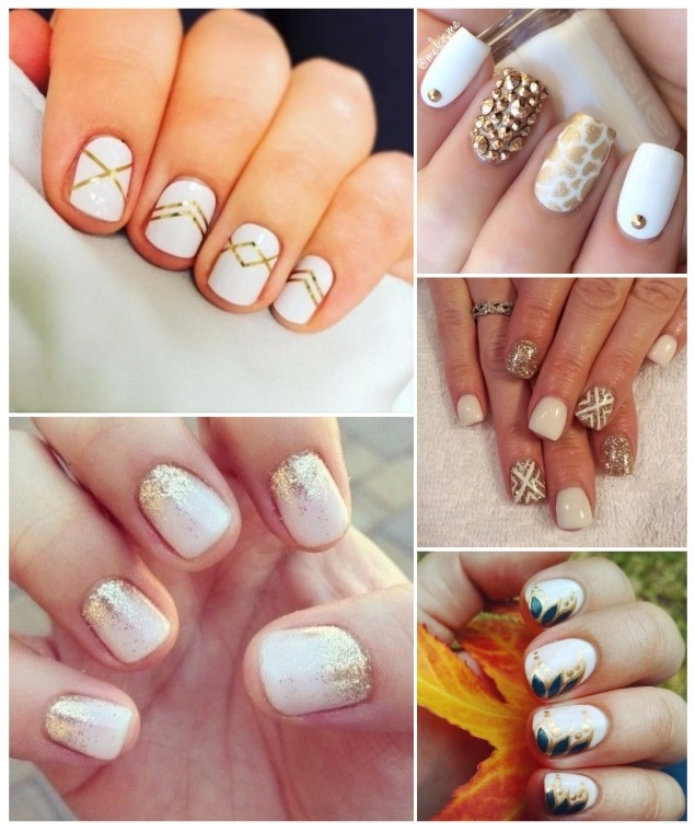 estilos de uñas doradas