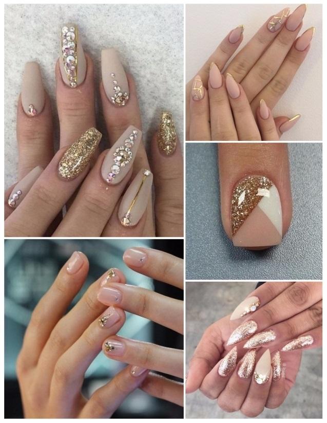 combinar uñas doradas