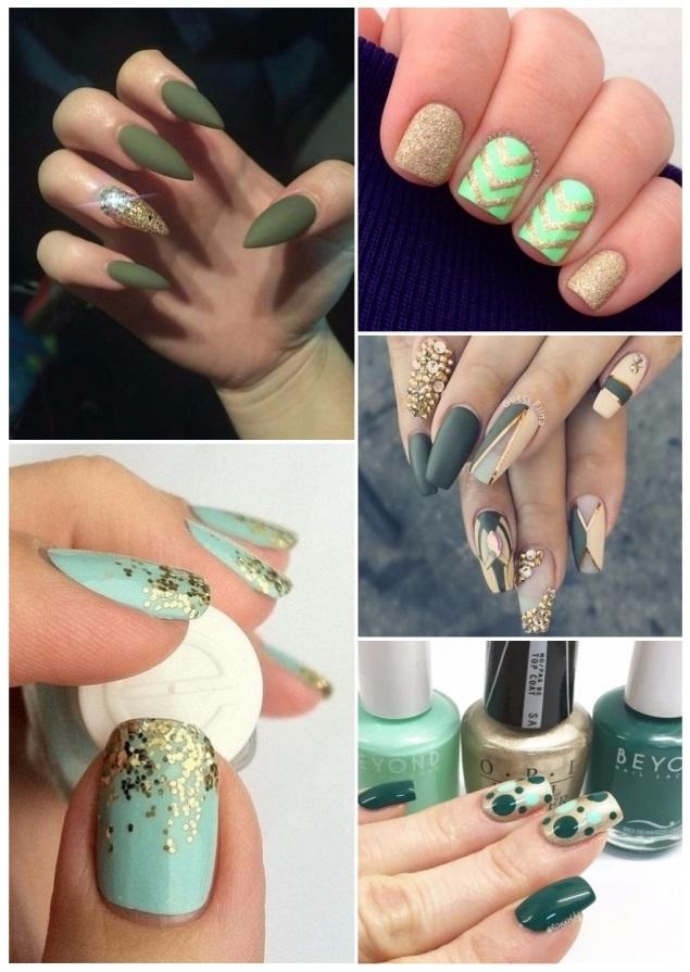 uñas verdes con brillos