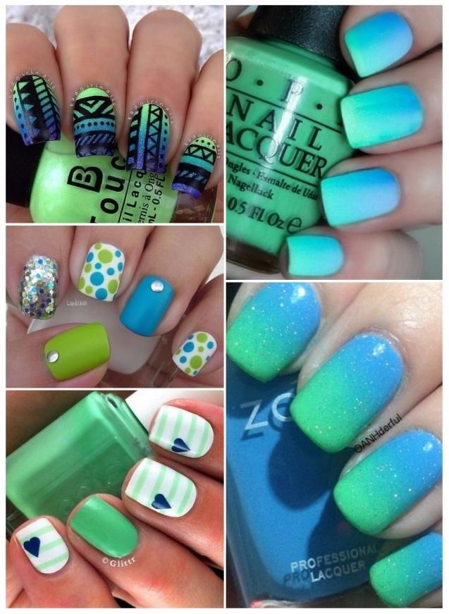 manicura con uñas verdes