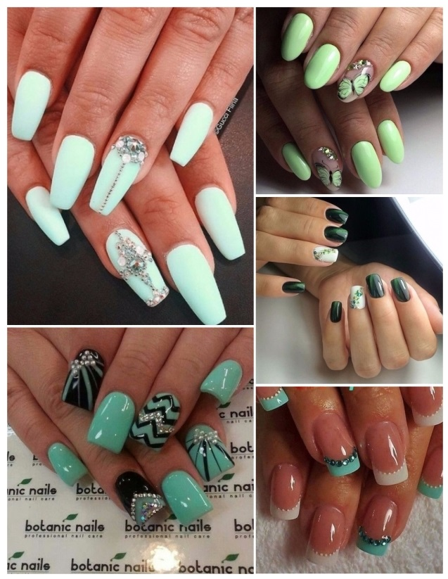 estilos de uñas verdes
