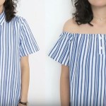 como hacer una blusa campesina reciclada con una camisa