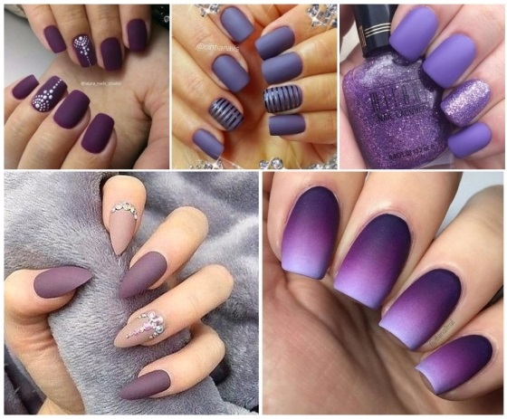 decoración de uñas moradas lindas