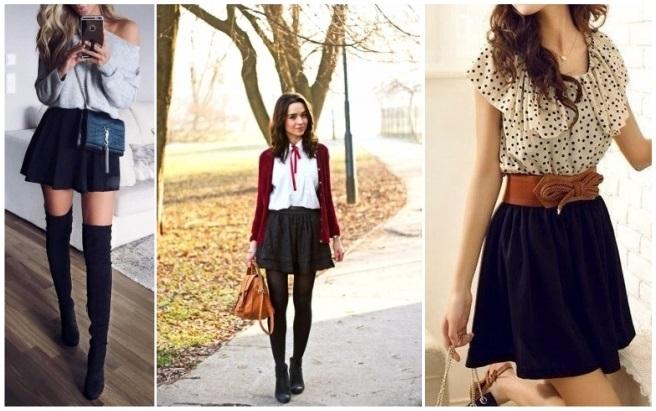 como combinar una falda negra con lunares blancos