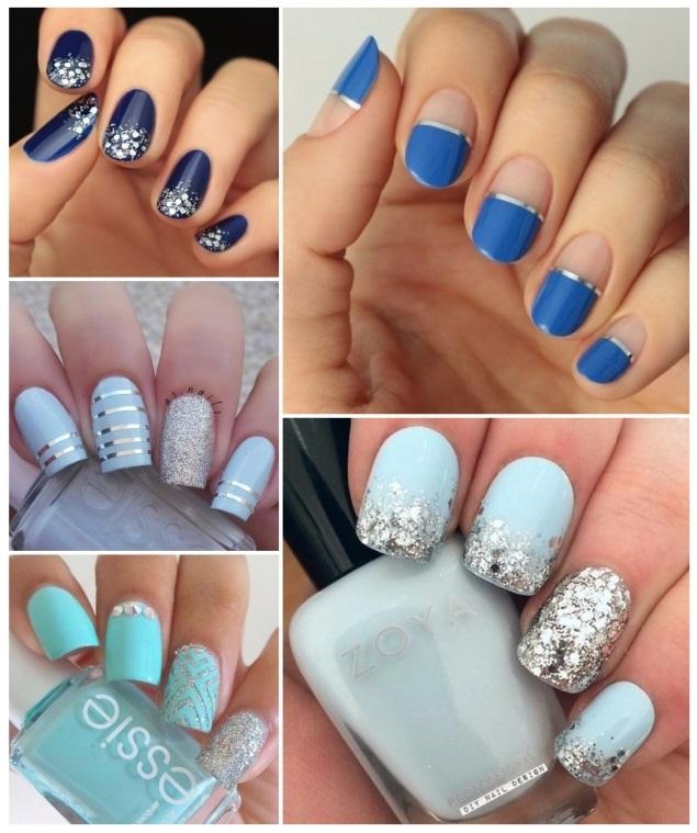 uñas decoradas en azul y plata
