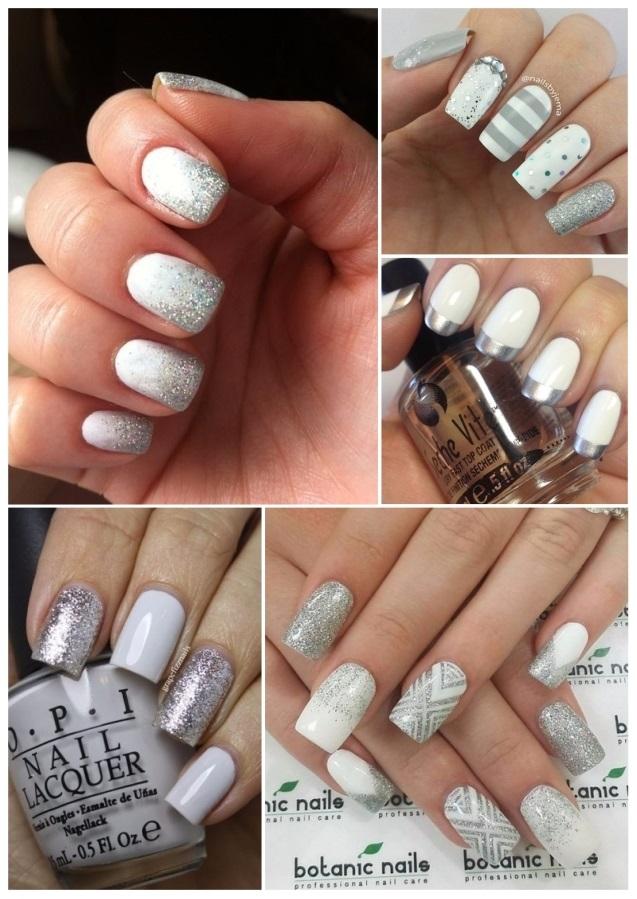 uñas decoradas en blanco y plata