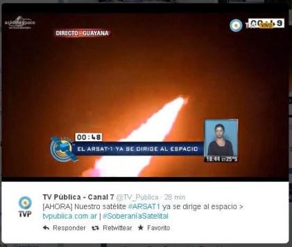 Transmisión y twitter de Canal 7 sobre el lanzamiento de ARSAT desde la Guayana francesa.