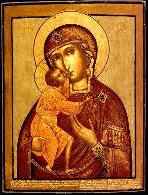 """Theotokos Fiódorovskaya (""""Virgen de San Teodoro"""") o Virgen negra, un modelo de icono ruso del siglo X (versión del pintor Gueorgui Avraámov, 1703)"""