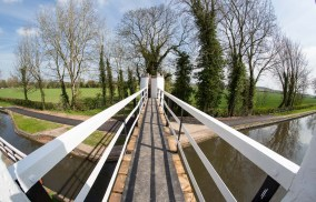 The footbridge viewed from a tower through a fisheye lens.
