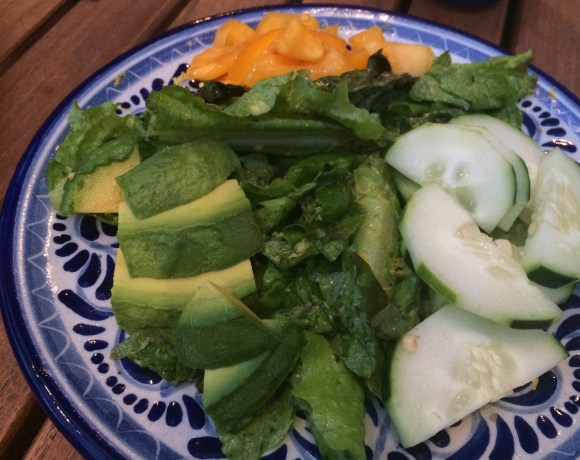 Simple Salad with Avocado, Cilantro Dressing