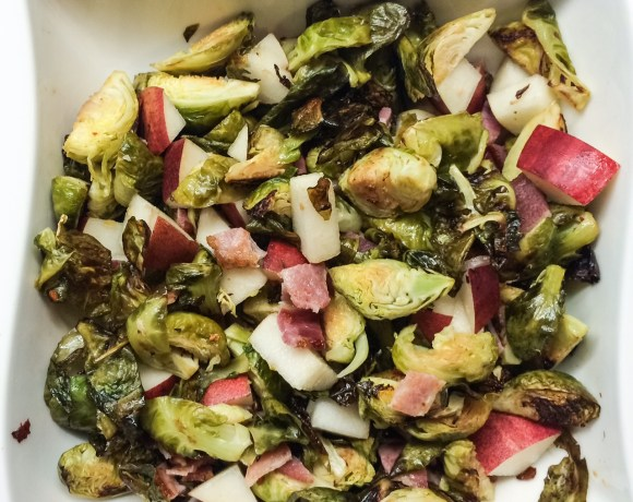 Roasted Brussels Sprouts with Pears and Bacon