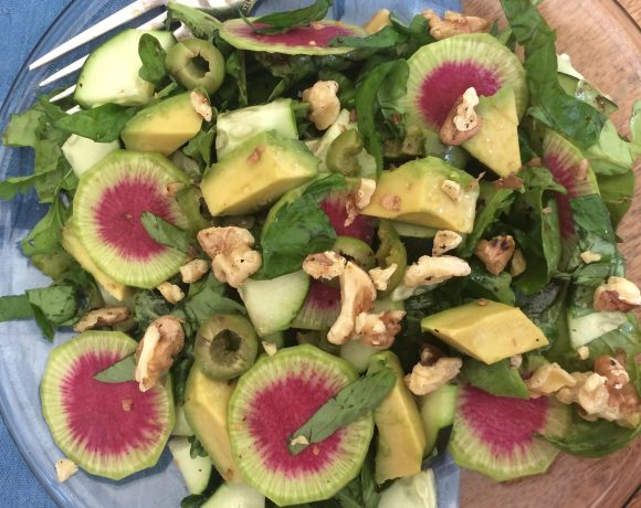 Watermelon Radish, Avocado and Arugula Salad