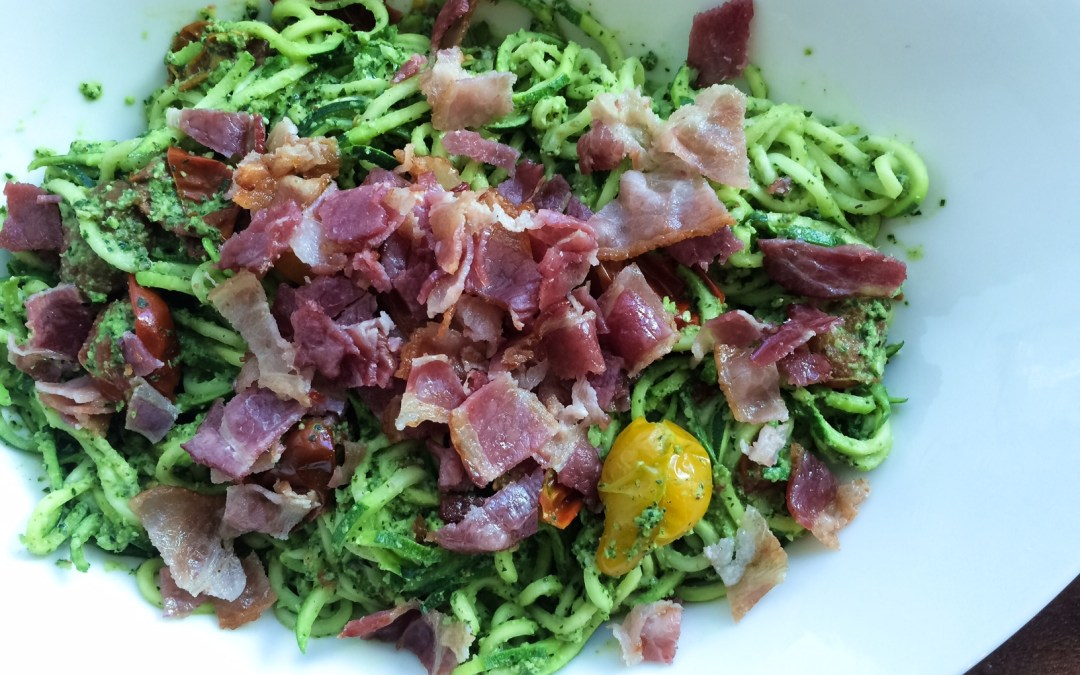 Kale Pesto Zoodles with Roasted Cherry Tomatoes and Bacon
