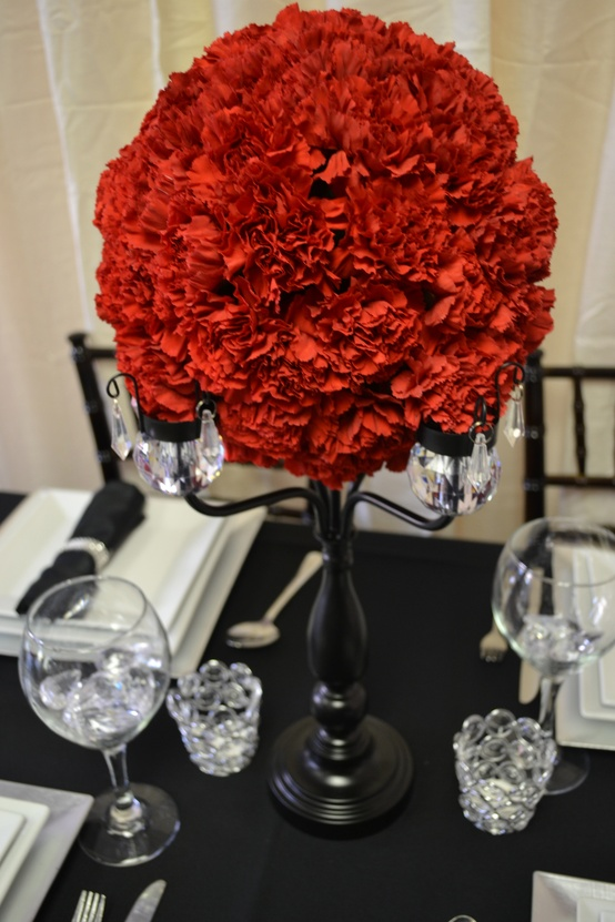 Red and black crystal candelabra centerpiece