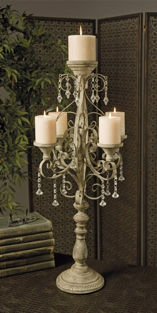 Jeweled Rustic Patina Candelabra Candle Garden Wedding Centerpiece