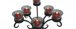 Wrought Iron Low Candelabra with Glass Cups