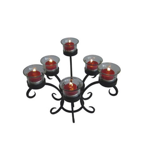 Wrought Iron Low Candelabra