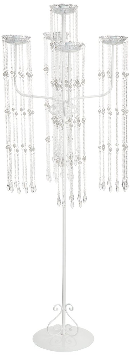 white Shiny Beaded Candle Holder,  47 inch  5 arm