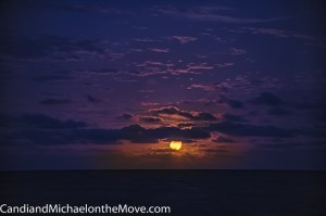 The honey moon rising out of the sea