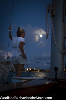 First Mate, Joanne, looking east towards to moonrise