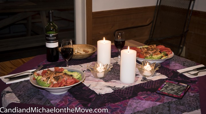 sunday night - Salmon Salad, candles, a good bottle of wine and the BEST Chef as fabulous company.